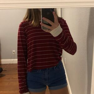 Forever 21 Red Striped Long Sleeve Tee